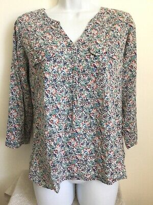 206 NEW RRP £38 Fat Face Blue Floral Jersey Button Back Casual Top