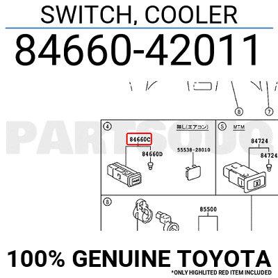 8466042011 Genuine Toyota SWITCH, COOLER 84660-42011