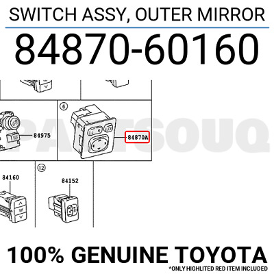 8487060160 Genuine Toyota SWITCH ASSY, OUTER MIRROR 84870-60160