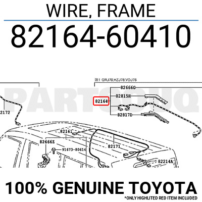 8216460410 Genuine Toyota WIRE, FRAME 82164-60410