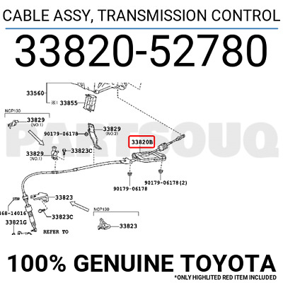 3382052780 Genuine Toyota CABLE ASSY, TRANSMISSION CONTROL 33820-52780