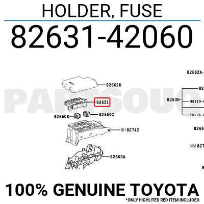 8263142060 Genuine Toyota HOLDER, FUSE 82631-42060