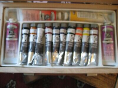talens van gogh winsor & newton winton oil paint tubes joblot in travel box