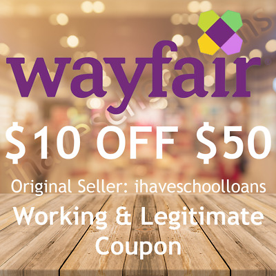 $10 off $50 Wayfair Coupon for NEW customers * FAST SHIPPING * ORIGINAL SELLER *