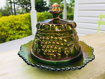 Northwood Carnival Glass, Antique. Grape & Cable Green Butter Dish