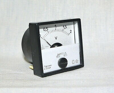 DC Analog Dial panel Voltage Gauge 0 - 2V Volt meter ,  USSR, RARE!