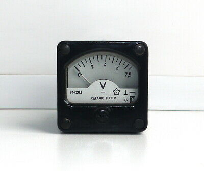 DC 0-7,5V Analog Dial panel Voltage Gauge Volt meter , USSR, RARE! Lot of 1 pcs!