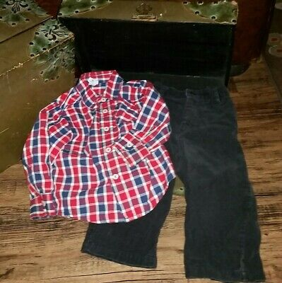 The Children's Place Black Corduroy Pants Res Plaid Shirt 18 months 12-18 Lot