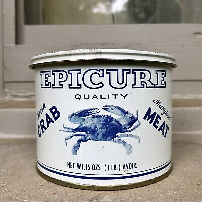 Vintage Epicure Crab Meat Tin Can Not Oyster Clayton Cambridge MD Blue/White Lb