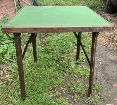Vintage Antique Retro Folding Card Table Games Table Green Baize Square Wooden