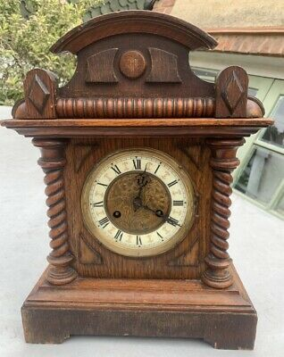 Antique Junghans Wurttemberg Oak Bracket Mantel Clock