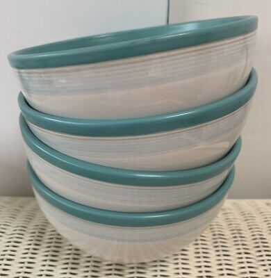 SET 4 DENBY Green White Cereal Soup Dessert Noodles Bowls 6.25 Ins Discontinued