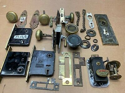 Vintage Miscellany Door Locks Parts Brass Handle no Keys