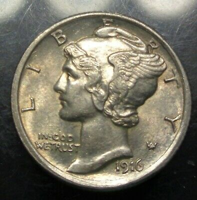 Lustrous Almost uncirculated++ to Unc. 1916 FB Mercury/Liberty silver 10C dime