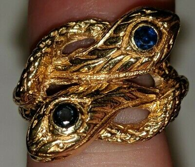 Antique Sapphires 10K Gold Double Head Snake Ring Blue Eyes 10.05 Grams Size 4
