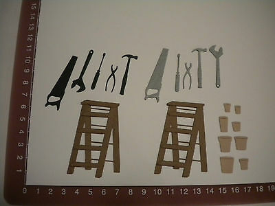 Scrapbooking die cuts - step ladder tools pots - masculine - Father's Day