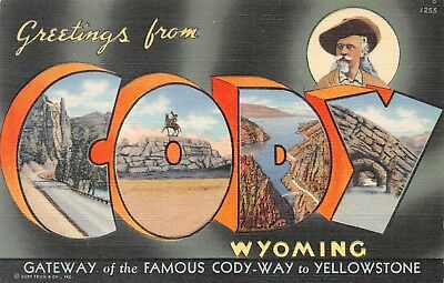 Greetings from Cody Wyoming Wy Large Letter Linen