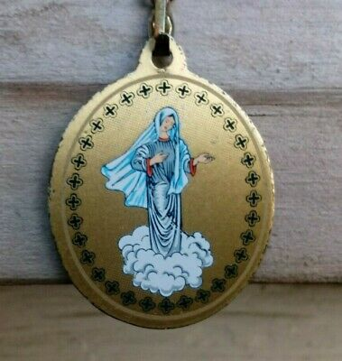 """VINT religious Medal  St.Mary BLUE medal and chain GOLD TONE 18"""""""