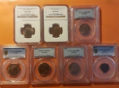 7x Trophy TOP Canada MS 64 COLLECTION OF 1 Large Small Cent  RED RB PCGS NGC SEE