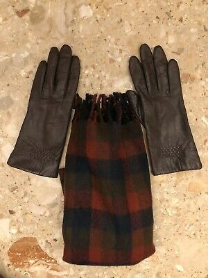Brown Fownes Women's Leather Gloves Fleece Lined Sz 7 Plus Scarf