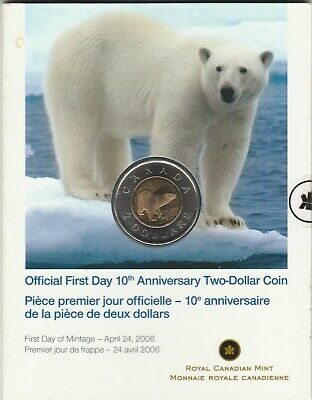2 COINS     2006 $2.00 OFFICIAL FIRST DAY 10th ANNIVERSARY