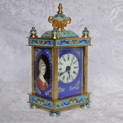 Vintage Chinese French Style Cloisonne Mechanical Clock. Excellent. Runs Great.