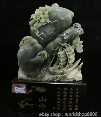 """16"""" Chinese Natural Green Xiu Jade Jadeite Carved Mountain Water Boat Statue"""