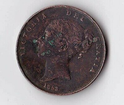 Queen Victoria Uk Coin 1863 Penny 156 Years Old