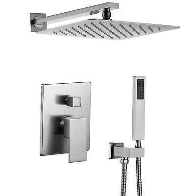 """Rozin Brushed Nickel Shower Faucet with Valve 12"""" Rain Shower Head Wall Mounted"""