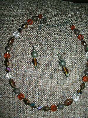 Vintage Pretty Amber Brown/Clear Shimmer Multi Glass Bead Necklace/Earrings-Nice