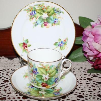 Victorian Hand Painted cup,saucer,plate Trio Lots of Flowers Lovely Con. Sweet !