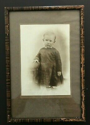 Antique Framed Black & White Photo of a Small Boy in Dress - Adorable