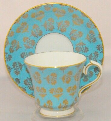 Aynsley Tea Cup & Saucer # 2967 Sky/ Aqua Blue Gold Flowers ( Teacup )