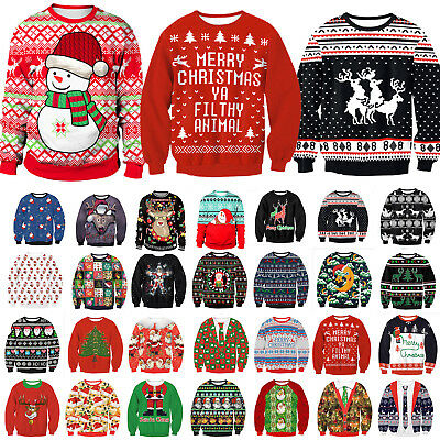 Unisex Ugly Christmas Sweater Santa Xmas Jumpers Casual Sweatshirt Tops Clothes