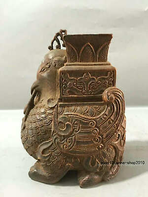 16cm collect Chinese Old Bamboo carving Handmade Bamboo Beast Cup Jar CCS