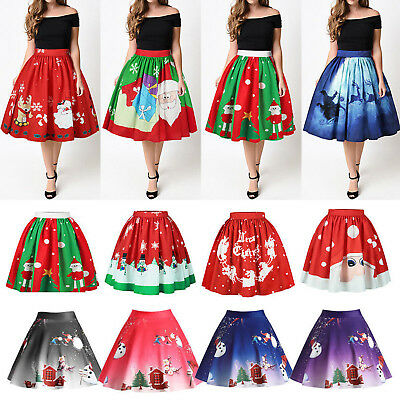 Women Christmas High Waist Skirt XMAS Santa Tutu Dress Pettiskirt Clothes Gifts