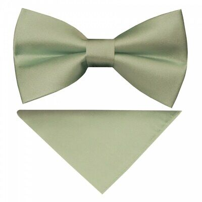 Pre Tied Moss Green Satin Silk Boys Bow Tie and Pocket Square Set Children's Bow
