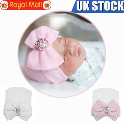 UK Newborn Baby Hat Girl Infant Child Striped Soft With Bow Cap Beanie Hospital