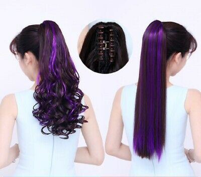 24'' Ombre Long Claw Clip In Ponytail Curly Straight Synthetic Hair Extensions