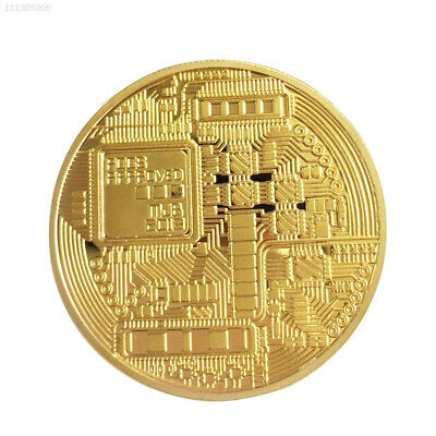 B1B6 Gold Bitcoin Plated Coin Alloy Art Collectible Electro Coin Collection
