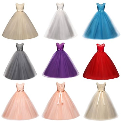 Girls Ball Gown Dress Wedding Princess Party Prom Birthday for Kids Age 4-14