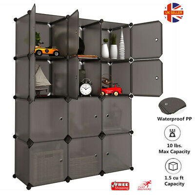 12 Cube Plastic Wardrobe Interlocking Modular Closet Cabinet Clothes Organizer A