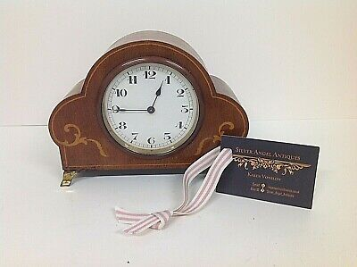 Pretty Edwardian Cloud shaped Mantle Clock in Mahogany and Satinwood Inlaid Case