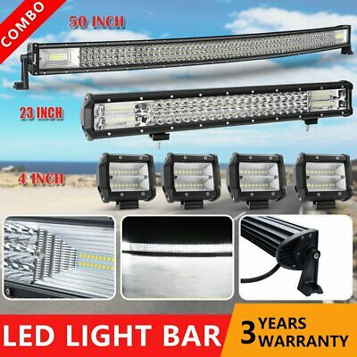 50Inch Curved LED Light Bar + 23in Combo +4'' CREE PODS OFFROAD FORD JEEP SUV