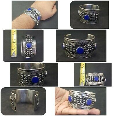 Wonderful Silver plated Afgani Adjustable Beautiful Bangle With Lapis Stone #W12