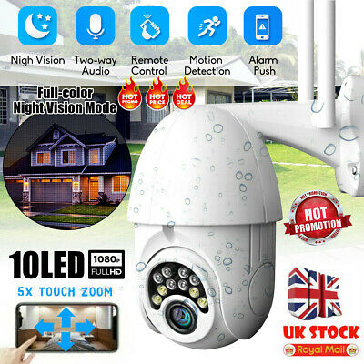 1080P WIFI IP Camera WHITE Wireless Outdoor CCTV HD Home Security IR Cam V380 UK