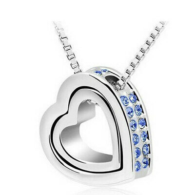 UK Womens 925 Sterling Silver Heart Crystal Stone Pendant Chain Necklace Jewelry