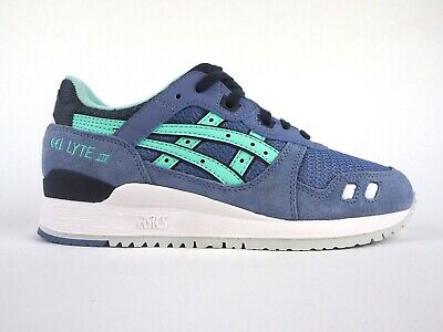 newest 345b1 9338e ASICS GEL LYTE III H62RQ 4876 Stone Wash Lace Up Leather Casual Trainers