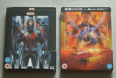 ANT-MAN + ANTMAN AND THE WASP - UK ZAVVI 2x LENTICULAR BLU-RAY STEELBOOK BUNDLE