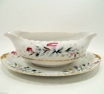 NEW DAWN by Victorian China Occupied Japan Gravy Boat W/ Attached Underplate